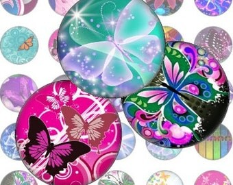 Magical Butterflies 1 In Circle Digital Collage Sheet -bottlecaps jewelry pendant ring clear glass domes round bubbles - U print 300dpi jpg
