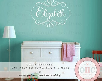 Shabby Chic Name Wall Decal with Heart Accents and Polka Dots - Monogram Vinyl for Bedroom or Nursery - Small to Extra Large Size  FN0550