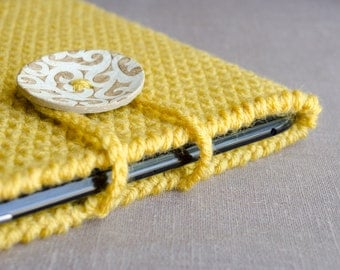Back To School Gift, Crochet iPad Cover, iPad Case, iPad Sleeve, Tablet Case, Tablet Sleeve, Tablet Cover, Mustard Yellow Ready To Ship