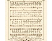 LOVE DIVINE- Custom Christian Home Decor- Vintage Verses- Sheet Music- Hymn Wall Art- Wedding Anniversary- Personalize Memory- Unending Love
