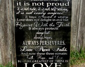 Love is patient, love is kind, 1 Corinthians 13 sign, rustic