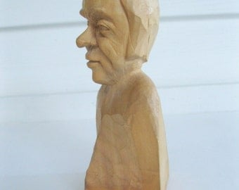 Wood Carving, Mans Head, Wood Sculpture, Collectable, Rustic Home, Cabin Decor, by mailordervintage on etsy
