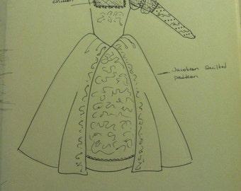 Renaissance Dress, Tudor, Elizabethan, Costume, Bridal Gown, Chiffon Sleeves - LAY AWAY AVAILABLE
