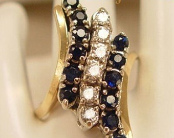 Right Hand Sapphire and Diamond 14Kt Gold COCKTAIL Ring - Estate