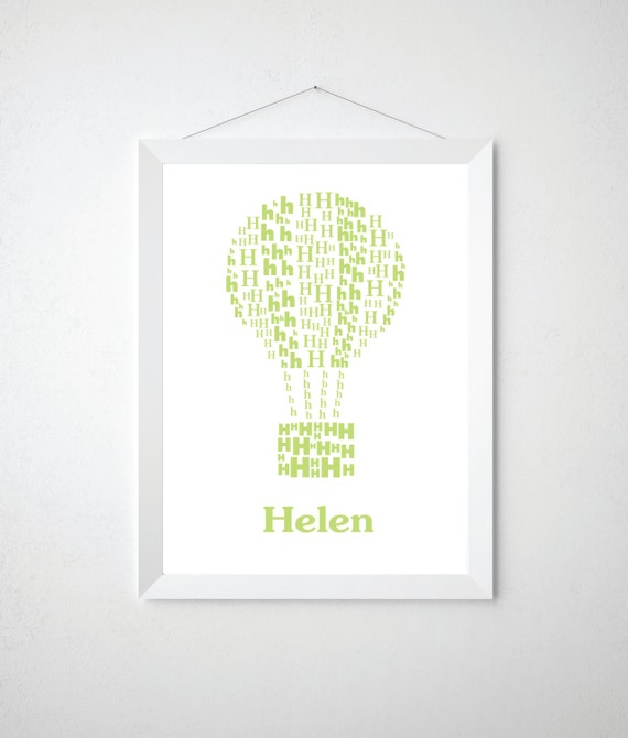 Kids Letter Art - Personalized Alphabet Poster -  Modern Wall Letters Print - Name Print