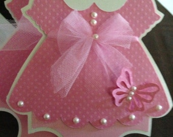 30 Baby Shower Pink Dress with Butterfly detail invitation  - pearls & tulle - girls birthday