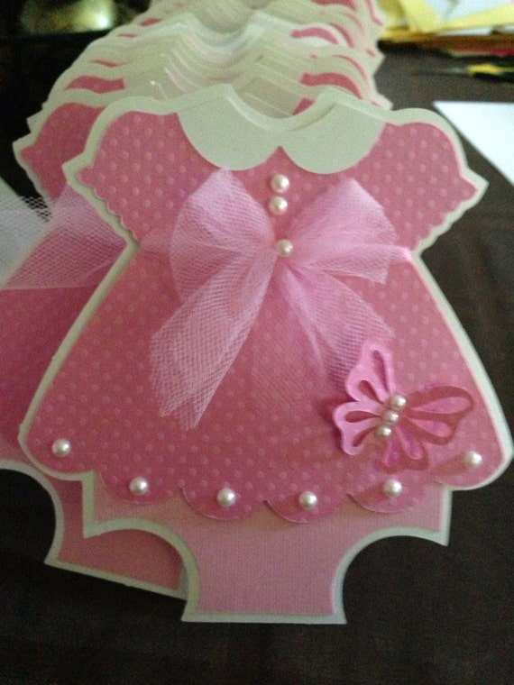 baby shower pink dress with butterfly detail invitation, Baby shower invitation
