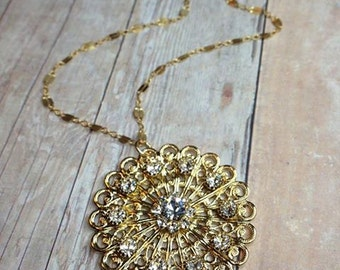 Long Filigree and Crystal Gold Necklace