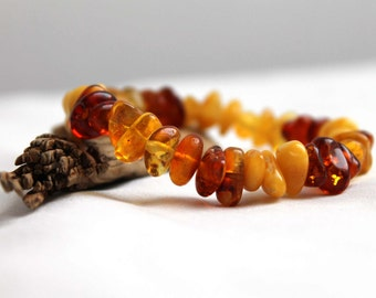 Multicolored Amber Bracelet Stretch Honey Yellow Cognac Baltic Amber Fall Jewelry Natural Organic Earthy Colors Orange Rough Gemstone Rustic