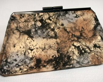 Clutch Handbag Purse - Black Clutch Purse - Marbled Fabric Purse - Unique Gift