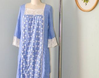 Vintage Peasant Dress, Boho Chic Little House on the Prairie, Floral Lace Print Hippie Dress, Miss K, Alfred Shaheen