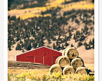 Little Red Barn - Red Barn Photograph - Farm Art - Tilt Shift Photo - Color Photography - Western Art Print