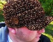 Crocheted Newsboy Hat Brown - Unisex , Variegated, Warm, Stylish , Men , Woman, Teen