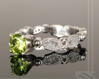 Vintage Styled Leaf Engagement Ring with Peridot - Sterling Silver