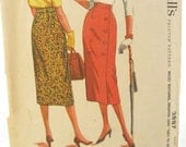 1950s McCalls 3887 Easy Sew Wrap Pencil Skirt Vintage Sewing Pattern