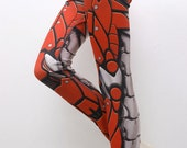 SECONDS Sale - Bionic Leggings - OLD Size XXXL Siren Red 3XL - Printed Metal Robot Tights - fl582