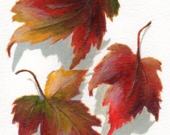Original Acrylic Painting - Small Painting of Autumn Leaves - Minimalist Art