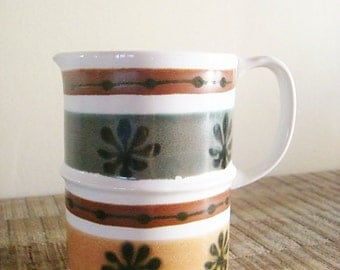 Vintage Mod Striped Green Gold and Brown with Starbursts Ceramic Creamer