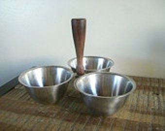 Mid Century Royal Dolphin Stainless Steel and Teak Three Bowl Server