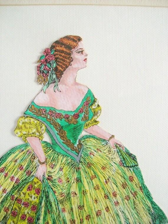 Vintage Original Hand Painted Framed Paris Fashion Art