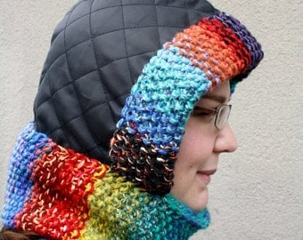Rainbow Knit Hood, Hooded Cowl, Snood Neckwarmer, Colorful Cowl with Eco-Friendly Hood, Bright Button Up Cowl Hoodie  - Black and Rainbow