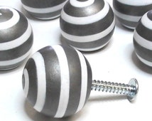"CABINET HARDWARE Set of TWO (or custom qty) Brushed Steel Pewter & White 1.25"" Spiral Knobs and brushed nickle silver look Drawer Pulls"