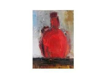 """splash of red 9x13"""" Small still life red bottle original oil painting one of a kind Christmas gift from Etsy Canada"""