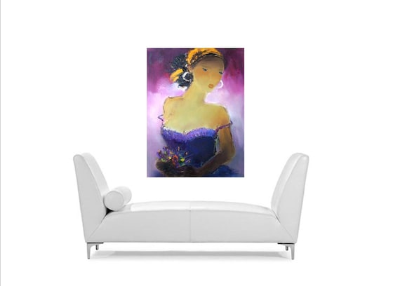 Sexy lady original oil on Canvas portrait,Lady with Spring Flowers,exotic beautiful person,sensual figure,gift for wife or your love