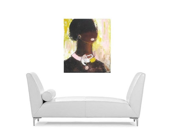 African beauty Oil on Canvas Portrait  lady in a Fancy Necklace Portrait original oil on canvas fine art painting available on Etsy Canada