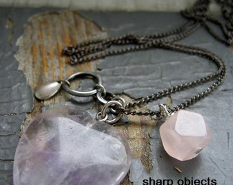 SOFT - pale rose quartz polished stone, silver metalwork tag, romantic heart pendant & gunmetal chain NECKLACE