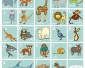 Animal Alphabet Poster JoyNevada Littleones A3 or A4 (uk)