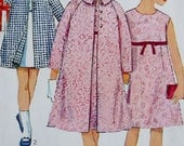 Vintage 60s Girls Sewing Pattern -- 1960s Dress and Coat -- Size 10 Breat 28