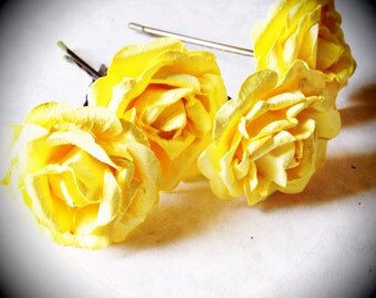 Yellow Rose, Bohemian Wedding Hair Accessories, Bridal Hair Accessory, Yellow Hair Flower, Bobby Pins, Set of 4