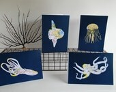 Set of 4 Monterey Sea Life Map Cards - Printed From Original Map Papercuts - 5x7 Frameable Art Notecards