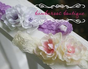 Baby headband, newborn headband, lavender small flower headband, purple flower headband, peach headband, lace headband