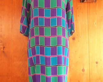 80s PERSPECTIVE JUNIORS--Silk Tunic--Color Grid--Three-Quarter Sleeves--Made in Korea