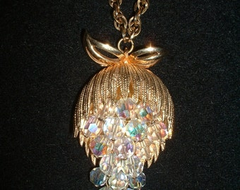 Gorgeous Vintage Mid Century Waterfall HandPinned Aurora Borealis Crystal Necklace Pendant Must See