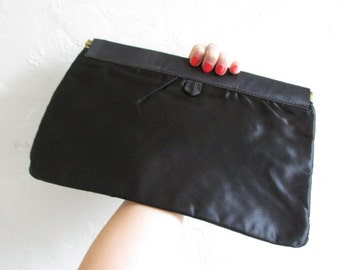 black satin clutch vintage 60s 70s hand purse - one size