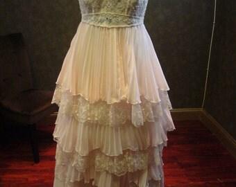 Blush Pink Plus Size Wedding Dress with Straps
