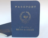 Passport Destination Wedding invitation, letterpressed with hand-set antique metal type and gold ink SAMPLE ONLY