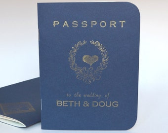 Passport Destination Wedding invitation, navy cover with gold ink SAMPLE ONLY