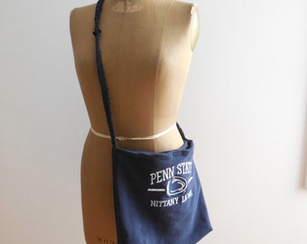 Penn State Tote Bag Recycled Sweatshirt Purse PSU Navy Blue White School Women Girls Tote Bag Drawstring Bag Cotton Bag Gift For Her ohzie