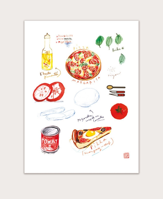 Items similar to pizza print kitchen decor italy food for 8x10 kitchen designs