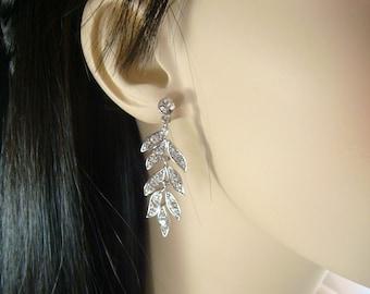 Wedding Rhinestone Chandlier Earrings / rhinestone leaf leaves / art deco earrings / bridal rhinestone dangle earrings