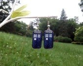 TARDIS earrings Doctor Who police box earrings Silver or Gold wedding
