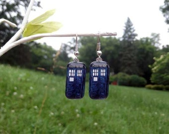 TARDIS earrings Doctor Who fan police box earrings Silver or Gold