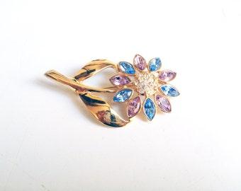 Vintage Rhinestone Flower Brooch / Mid Century Brass Pin