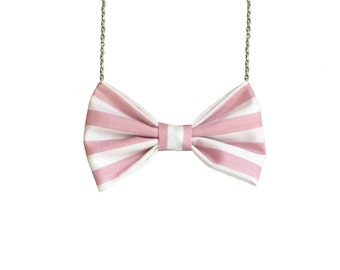 Pink Stripes - Bow Tie Necklace, Soft Pink Bowtie Back to School