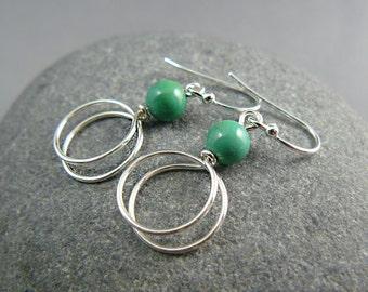 Turquoise Hoop Earrings, Sterling Silver Hoops, Gemstone Hoop Earrings, Hoop Earrings, Medium Hoop Earrings, Turquoise Earrings, Gem Hoops