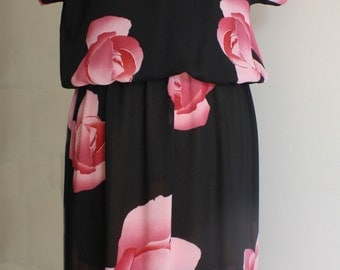 Luscious Rose Black Dress with Stola Neckline
